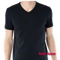 ML tshirt kaos polos model V Neck lengan pendek Hitam murah