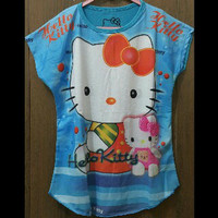 Kaos Batwing Hello Kitty Biru Muda