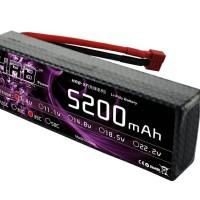 2 pc baterai lipo 7.4V 5200mAh 35C 2S RC Hard Case for 1/10 RC