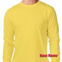 XL tshirt kaos polos model O Neck Unisex lengan panjang Kuning murah