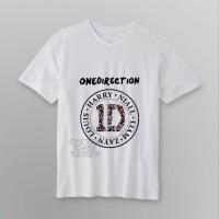 Jual Flower 1D One Direction logo kaos V-neck t-shirt tees DTG A3 putih Murah
