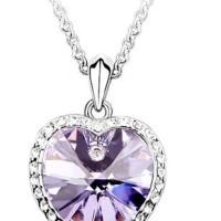 Kalung Kristal Korean Design Bentuk Hati RDN866E6 Light Purple