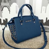 Michael Kors MK Selma Grommet/Gromet/Grommed medium Sapphire Blue