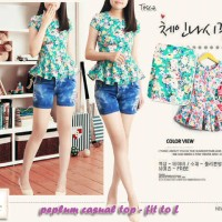 Jual Peplum casual floral top best seller-blouse-dress-cotton strech-7006 Murah