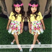 Set L Nice Yellow Flower Plaid Skirt