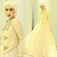 Baju Gamis pesta Dian Pelangi white dress set/ setelan