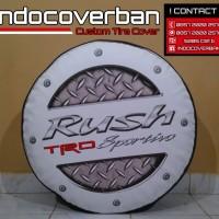 Cover Ban / Sarung Ban Toyota Rush Logo Rush Bordes Putih