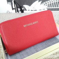 Dompet Michael Kors MK Wallet Zipper neo Red