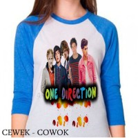 gaya 1D one direction kaos raglan tee shirt 3/4 cewek cowok