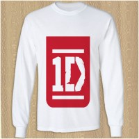 Jual One Direction Red Logo kaos t shirt lengan panjang DTG A3 Murah