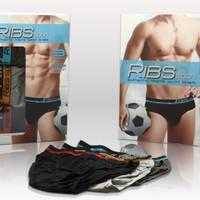 Celana dalam Ribs Sport 100% katun minimal 1 kotak(3pcs)