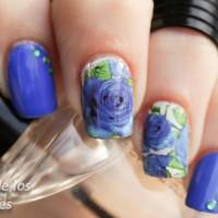 """Blue Rose"" Water Decal Transfer Nail Art Sticker   Stiker Kuku Mawar"