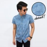 Kemeja Pria Short Denim Dim Cloudy Vector Batik