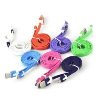 5 Warna Kabel Data Usb Micro Flat 1 Meter Kualitas Bagus Grosir Murah