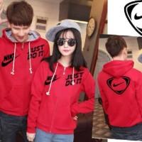 Jaket Sweater Couple Nike Just Do It Merah