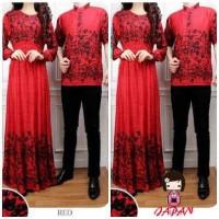 Rein Couple (Baju Kemeja Pria + Long Dress Wanita, Batik Rayon Merah)
