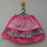 Apron Skirt / Rok anak pink polka