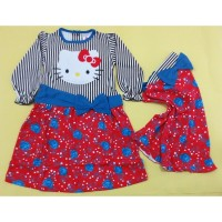 Gamis Anak Hello Kitty + Jilbab 1-2 Tahun (LPT-245072-Merah)