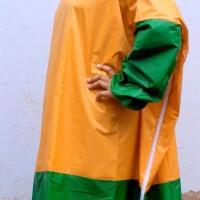 Jas Hujan Wanita Model Terusan / Jubah Kombinasi Kuning-Hijau