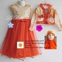 Gamis anak tile bolero orange size M, L