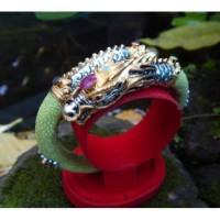 Gelang uli perak naga warna hijau