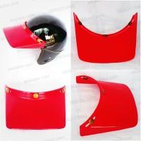 Topi Pet Panjang Helm Classic Bogo Retro Vespa Cakil Cross Merah