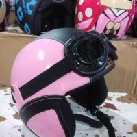 Helm Retro Kacamata Kalep warna Light Pink-Black