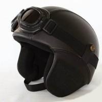 Jual Helm Retro Kacamata Kalep warna Black Solid Murah