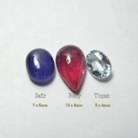 Paket 3 Batu Permata Natural Safir Ruby Topaz Part 3