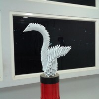 3D Origami Little Swan in white