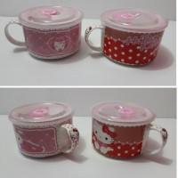 Mangkok Mug Hello Kitty Tutup Plastik Kedap Udara