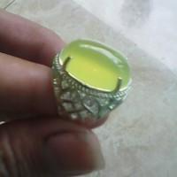 cincin batu natural hijau bening tembus ring emban perak halus