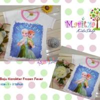 Baju / Kaos / Atasan Anak Karakter Frozen Fever Elsa Anna
