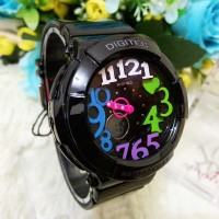 Jam Tangan Wanita / Cewe Digitec 3010 Baby G Style Hitam Rainbow