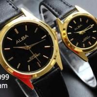 jam tangan alba couple / jtr 099 hitam