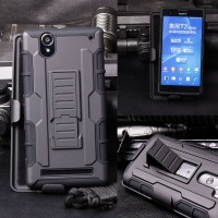 Sony Xperia T2 Ultra Future Armor w/ Holster Case ( Dual Layer Case )