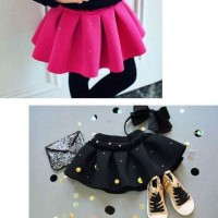 rok anak lucu merah muda hitam girls skirt pink black import pesta top