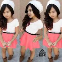 dress anak perempuan atas putih rok salem (dress yuri DR)