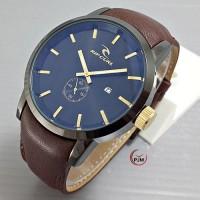 jam tangan ripcurl detroit kulit coklat tua angka gold rip curl