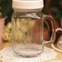 Drinking Glass jar / Mug Jar / Gelas Toples Harvest Time Dengan Tutup