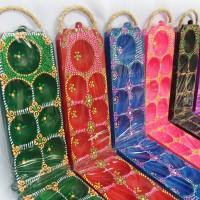Congklak Dakon Kayu motif batik warna warni permainan tradisional