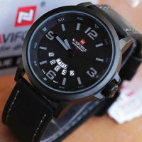 Naviforce Date Leather Original Hitam List Abu