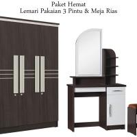 Lemari Pakaian 3 Pintu dan Meja Rias Lengkung (Diskon)