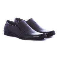 Sepatu kantor laki-laki bahan kulit warna hitam ga