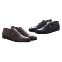 Sepatu kerja pria bahan kulit warna hitam & brown