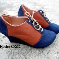 Harga Sepatu Wedges Boot 8cm Wanita Boots Tali Kulit TAN Coklat Denim Jeans | WIKIPRICE INDONESIA