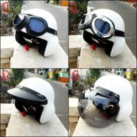 harga helm pilot retro clasic putih polos + kaca mata google  ( no, 1 & 2 ) Tokopedia.com