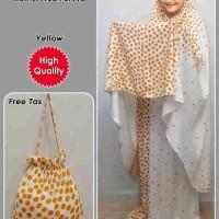 Sv5699 mukenah bali onde yellow bahan cotton rayon kerudung PJ=145 rok