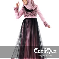Busana muslim pesta baju gamis dusty pink cq1513 by CantiQue