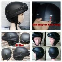 Helm Chips Retro Klasik Full Kulit Black Solid + kacamata
